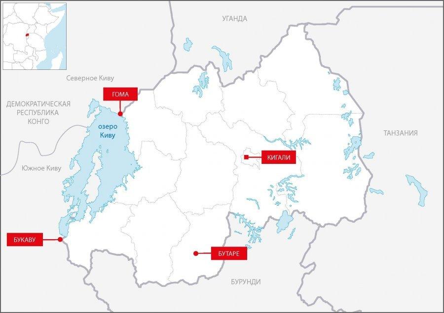 Карта Руанды с обозначением ключевых мест работы MSF в 1994 году