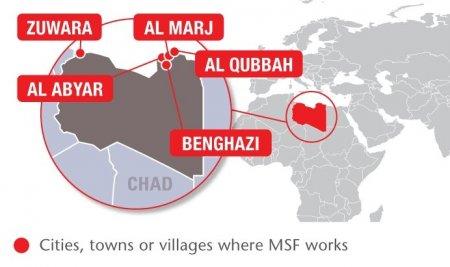 Map of MSF's activities in Libya, 2015